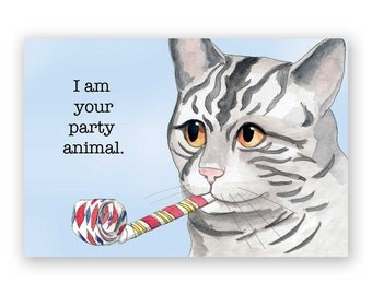 SALE!! Party Animal - Magnet - Cat - Humor - Gift - Stocking Stuffer