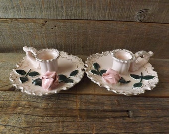Lefton Candle Holders, Fingertip Candle Holders, Pink Roses, Taper Candle Holders, Shabby Table, Shabby Dresser