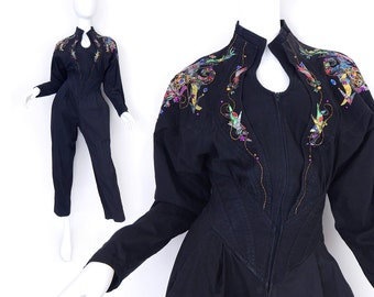 80s Bejeweled Black Jumpsuit - Small - Vintage Women's High Waisted Batwing Baggy Pleated Rhinestone Jumpsuit