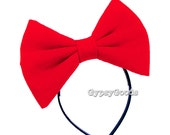 MEDIUM Flannel Hair Bow (Headband) Adult M-Bow in Red, Black, White, Pink, Blue, Purple or Yellow for costume cosplay comic-con Halloween