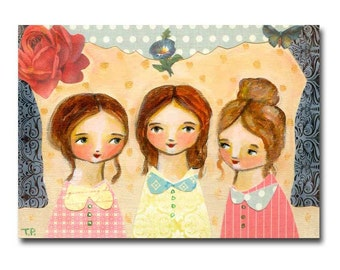 ORIGINAL Bronte Sisters Charlotte Emily and Anne Portrait painting mixed media collage nursery room wall art by Tascha