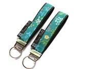 Key Fob Wristlet - Key Chain Wristlet  Fabric - Keyfob - Keychain - READY TO SHIP - Flora Fabric