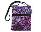 Crossbody Travel Purse also fits many tablets Kindle Fire /Nook Bag / iPad mini / FAST SHIPPING / - Passion Purple Fabric