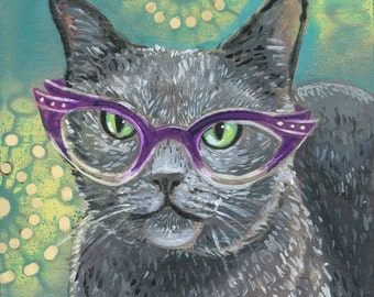 "6x6 inch Archival Print on Wood  ""Cat Eye Cat #4"""