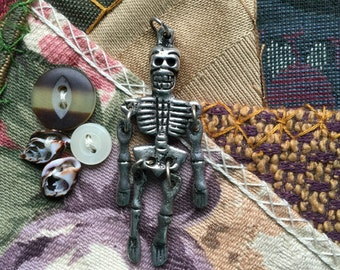 Articulated Nepalese Silver Skeleton Pendant