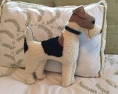 RESERVED for SANDI, Wire Fox Terrier Pillow, Vintage Wool, 16 inch