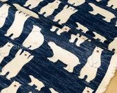 Japanese Fabric - polar bears canvas - blue - fat quarter