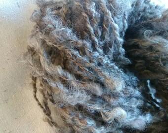 Handspun Romney, textured, silver grey natural colour, yarn for knitting, weaving  - 50yds