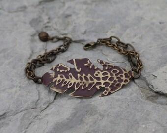 Feather Bar Bracelet - Plum