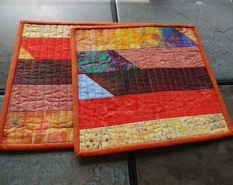 Earth Tone Batik Strips Quilted Mug Rugs  -  Set of 2