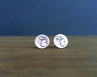 michigan earrings | stud earrings | michigan studs | etched copper studs | jewelry for her