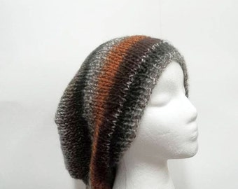 Oversized beanie hand knitted slouch hat  large size  5246