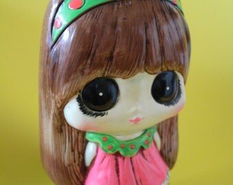 Vintage ceramic BIG EYED GIRL coin bank