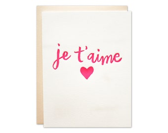 Je T'aime Letterpress Card / Love, Wedding, or Valentine Card / Fuchsia Calligraphy with Heart and Blush Envelope