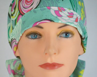 Surgical Scrub Hat or Chemo Cap- The Mini with Fabric Ties- Sprayed Blooms