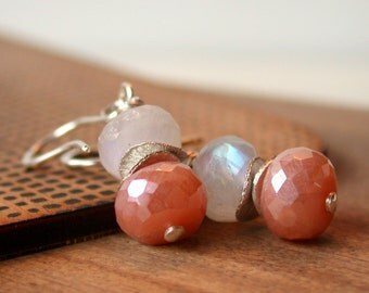 Blushing Drops. Moonstone Earrings. Silverite Earrings. Wire wrapped Earrings. Dangle Earring. Drop Earring.