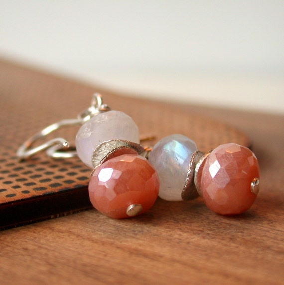 Blushing Drops. Moonstone Earrings. Silverite Earrings. Wire wrapped Earrings. Dangle Earring. Drop Earring.