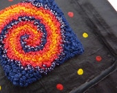 Tiny Punch Needle Embroidery and Papier Mȃché Hanging Decoration - House Shape With Spiral