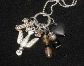 Sacred Dove and Black Heart Charm Necklace - Pagan, Faery, Peace, God