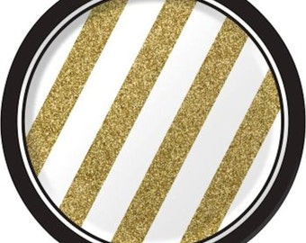 Black and Gold Dessert Plates-Set of 8-NEW-7in round