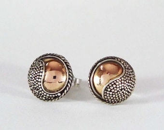 9mm Yin and Yang Post Earrings Sterling Silver and Gold Plated AE06
