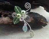 ON SALE Spring Green Ear Cuff Vine, No Piercing, Fairy Jewelry, Fantasy Vine Wrap