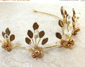 ON SALE Midsummer Night Tiara Gold Fairy Crown Summer Wedding Costume Crown