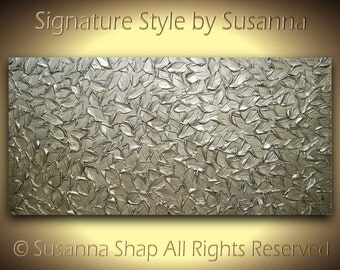 Abstract Silver Painting Brushed Nickel Thick Texture Palette Knife Oil Painting Wall Art Original Metallic Modern Art MADE2ORDER -Susanna