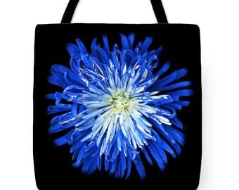 Black & Blue Designer Tote Bag -Blossom, Flower, wearable digital art, shopping tote, beach bag, supermarket bag, reusabe grocery bag