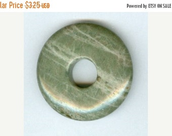 CLEARANCE 35mm Shades of Green Jasper with Lines PI Donut Pendant 8402