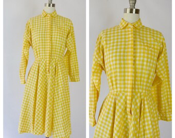 1990s yellow gingham dress / button up classic style dress /small