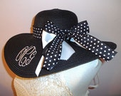 Monogrammed Floppy Hat Black Wide Brimmed for Wedding, Bridesmaid, Sun, Beach, Derby, Cup Race or Just Looking Fabulous