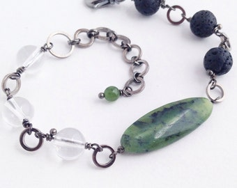 Natural Lava Rock and Quartz Crystal Bracelet with Nephrite Jade Genuine Stone
