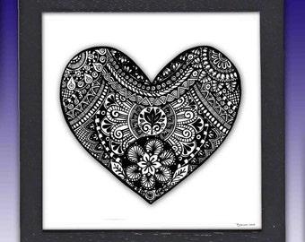 Framed Heart Pen and Ink Print