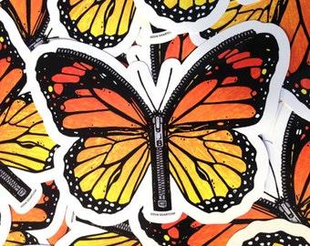 Butterfly Zipper Waterproof Die Cut Colorful Monarch Wings Vinyl Sticker - Etsy