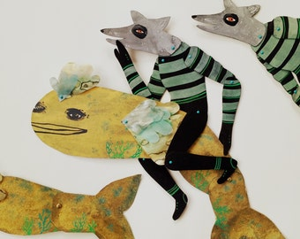 Golden Fish and Bandit / Hand Painted Numbered Articulated Illustration