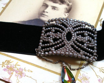 1900s Antique Cut Steel French Velvet Choker necklace, Edwardian buckle, OOAK one of a kind jewellery.
