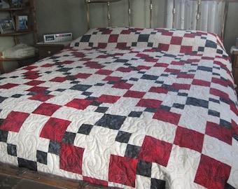 Queen Size Irish Chain Quilt, Red, Black, Cream, 688