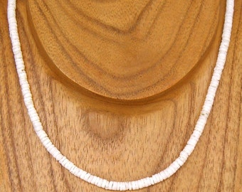 Necklace Puka Shell White Round Hawaiian Surfer SUP 18 or 20 Inches Length 7067