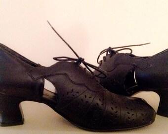 TUK 40s look peep toe lace up rockabilly Cuban Heel Shoe