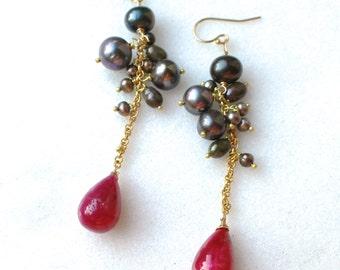 Natural Ruby, FW Ink Pearl Cluster Earrings in 14kg fill