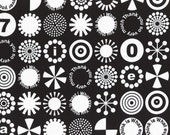 HALF YARD - First of Infinity Collection 31232-100 Thank You So Very Much -White on BLACK - Geometric  Lecien Japanese
