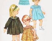 Vintage 60s Sewing Pattern Toddler Girls Smocked Dress Size 2 Smocking Short or Long Sleeve Uncut Simplicity 6325
