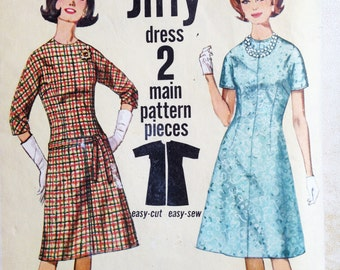 Simplicity 5066 Vintage 60s Sewing Pattern One Piece A-Line Dress Bust 38 Short Sleeve or Long Sleeve