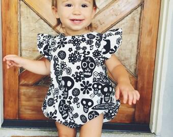 baby romper- romper- Halloween romper- Baby Bubble Romper- sugar skulls Romper - Romper - modern romper- toddler romper- black white romper