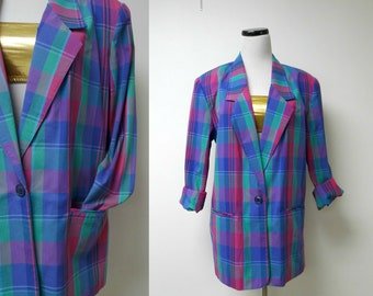 """Alfred Dunner 80s 90s blue green pink plaid blazer . size 10 . bust 44"""" . made in USA"""
