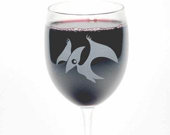Pterodactyl Wine Glass - dinosaur stemware