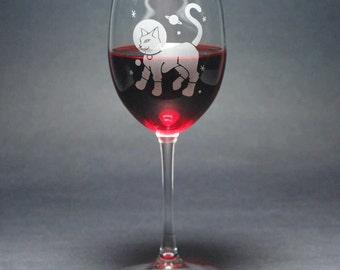 Astronaut Cat Wine Glass - cute outer space kitty