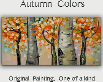 Original art Abstract Painting large Oil Painting, aspen tree art fall Landscape Painting Changing Season by tim lam 48x24x1.3