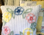 "Vintage Chenille Pillow - Floral - Soft Loose Fit  - 18"" - Cottage Chic"
